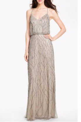Beaded Blouson Gown Champagne Taupe Silver Bridesmaid