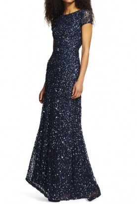 Scoop Back Sequin Beaded Gown Dress Navy Gunmetal