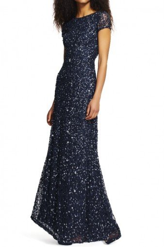 Adrianna Papell Scoop Back Sequin Beaded Gown Dress Navy Gunmetal