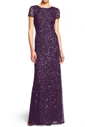 Adrianna Papell Scoop Back Sequin Beaded Gown Amethyst Gunmetal