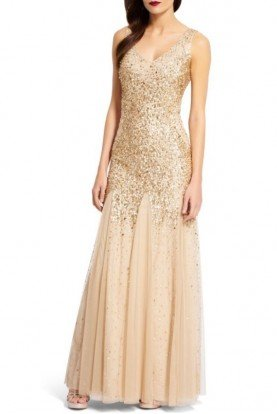 Adrianna Papell Gold beaded sequin mermaid gown bridesmaid dress