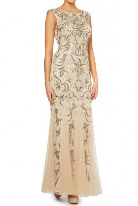 Champagne Cap Sleeve Gold Beaded Embellished Gown
