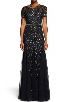 Adrianna Papell Cap Short Sleeve Beaded Mesh Gown Dress in Navy Silver