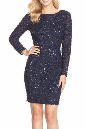 Embellished Sequin Long Sleeve Cocktail Dress Navy