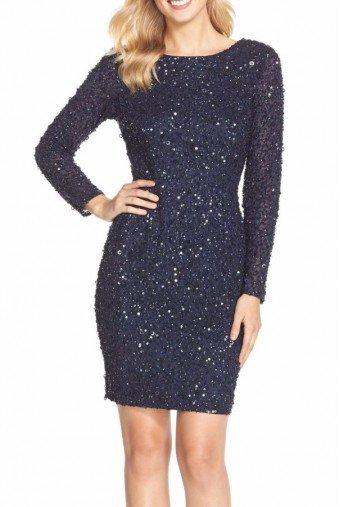 Adrianna Papell Embellished Sequin Long Sleeve Cocktail Dress Navy