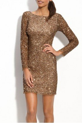 Gold Sequin Beaded Long Sleeve Cocktail Dress