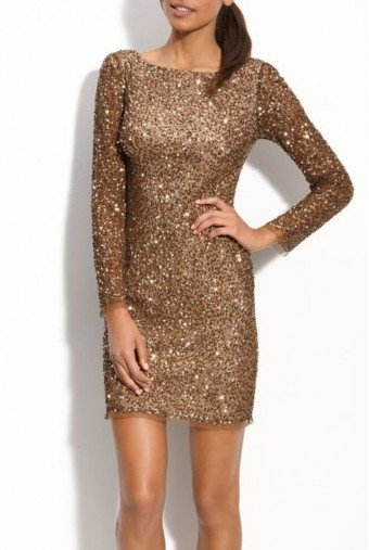 Adrianna Papell Gold Sequin Beaded Long Sleeve Cocktail Dress