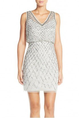 Embellished Beaded Blouson Sheath Dress Gray Silver
