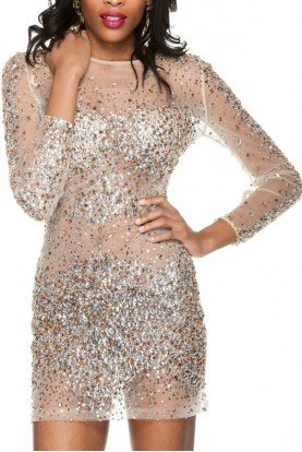 7757 Sheer Crystal Encrusted Cocktail party dress