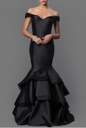 31100 Off Shoulder Black Pearl Mermaid Dress Gown