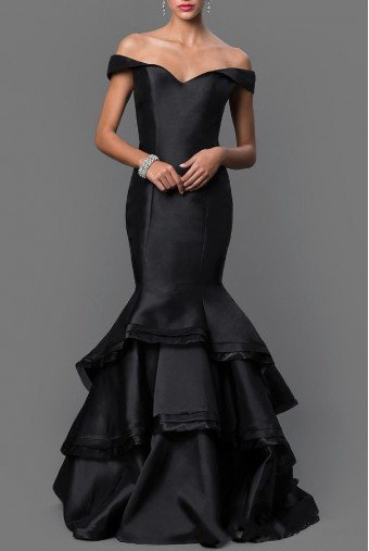 Jovani 31100 Off Shoulder Black Pearl Mermaid Dress Gown