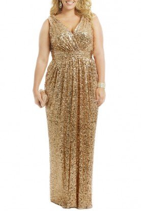 Badgley Mischka Gold Sequin Ball Gown Award Winner Dress Plus Size
