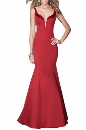 21382 Crimson Red Evening Gown Mermaid Dress