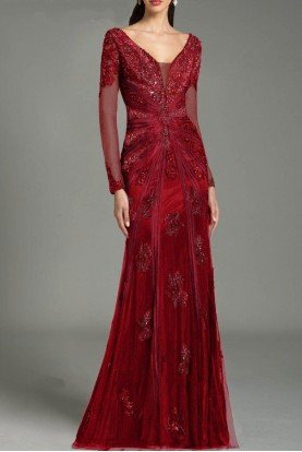 26217 Cranberry Red Long Sleeve Evening Dress Gown