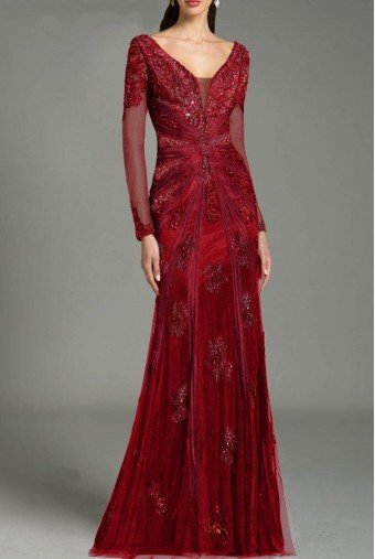 Feriani Couture 26217 Cranberry Red Long Sleeve Evening Dress Gown