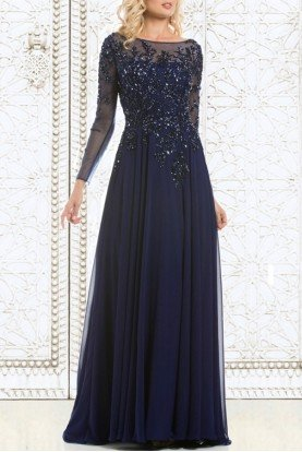 Feriani Couture 26145 Navy Blue Sheer Long Sleeve Applique Gown Dress