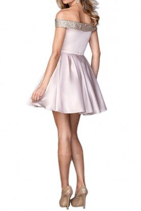 22105 Off Shoulder Pink Champagne Party Dress