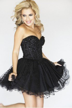 2750 Black Sequined Short Prom Party Dress