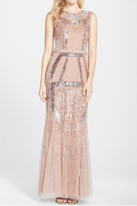 Blush Pink Beaded Art Deco Shine Gown Dress