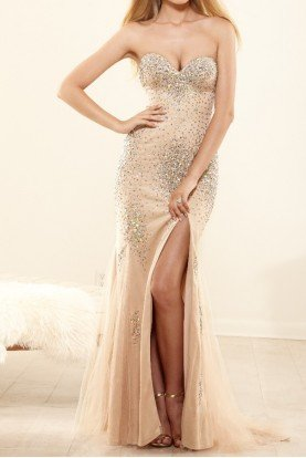 P3161 Crystal Mermaid Dress Open Back Prom Gown