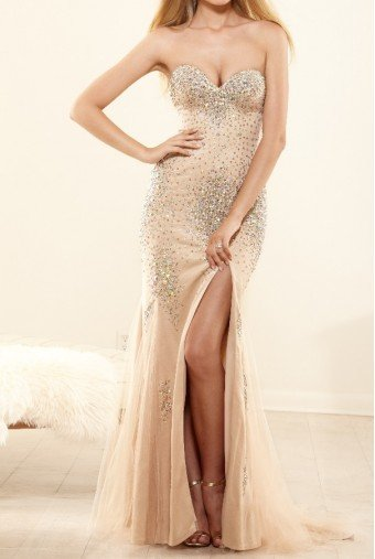 Terani Couture P3161 Crystal Mermaid Dress Open Back Prom Gown