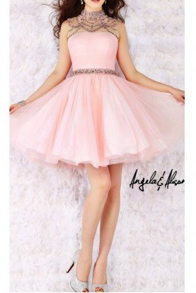 Blush Embellished Cocktail Dress 52008