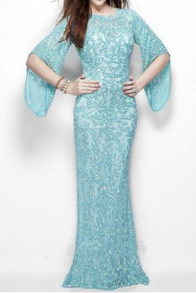 9713 Long Sleeve Sequin Evening Dress Gown in Aqua