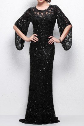 9713 Black Wide Sleeve Beaded Sequin Gown Dress