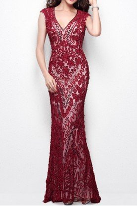 Primavera Couture 1410 Ruby Red Nude Dress Gown V Neck