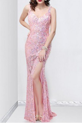 9838 Pink sequin cowl back gown mermaid dress