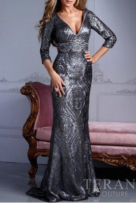 M2248 Silver beaded long sleeve evening gown
