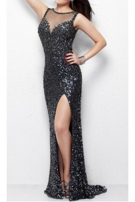 Primavera Couture 1130 Silver Gunmetal Sequin Slim Gown Open Back