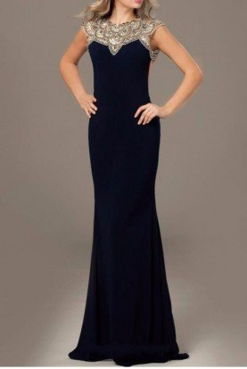 23102 Navy Open Back Embellished Jersey Gown Dress