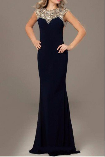 Jovani 23102 Navy Open Back Embellished Jersey Gown Dress
