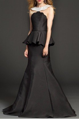 98630 Black Peplum Taffeta Gown Evening dress