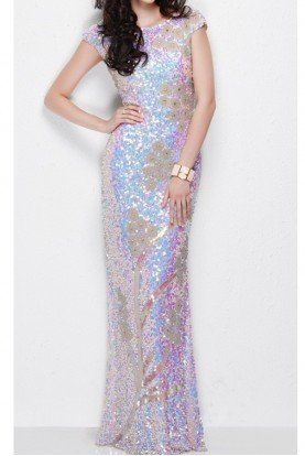 Primavera Couture 1128 Nude Pearl Sequin Gown dress