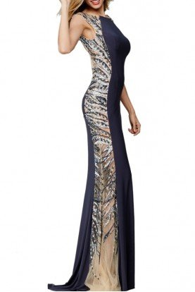25183 Dark Grey Illusion Open Back Gown Dress