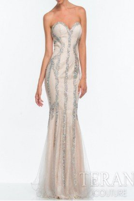 151P0407 Beaded Champagne Lace Gown Dress