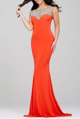 24222 Orange Embellished Neckline Gown Long Dress