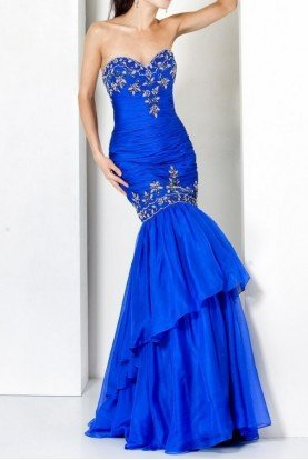 5466 Strapless Fitted Mermaid gown royal blue