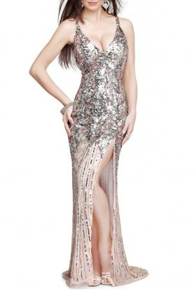 9490  Open Back Sequin Gown in Champagne