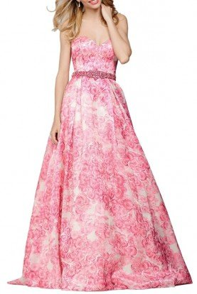 29040 Pink Ivory Floral Mikado Dress Ball Gown