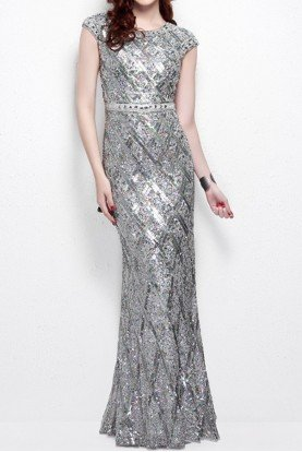 1555 Cap Sleeve Open Back Silver Stone Beaded Gown