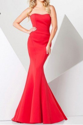Paris 115704 Strapless Red Mermaid Gown Jersey