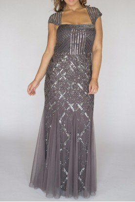 Cap Sleeve Bead Dress Sequin Beaded Gown Gunmetal