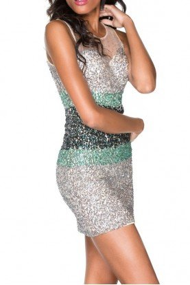 Silver Green Sequin Short Party Cocktail Dress