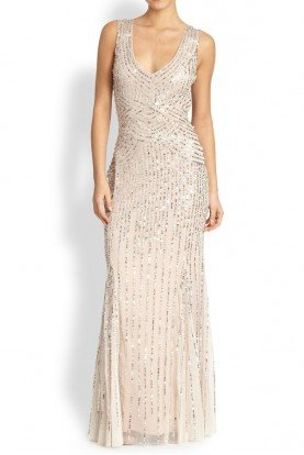 Sequin Beaded Tulle Dress Gown in Linen Champagne