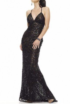 47542 Black Beaded Sequin  Open Back Gown Dress