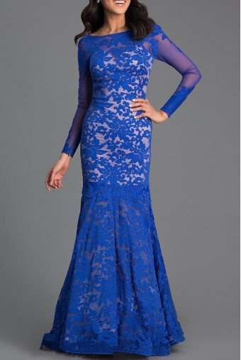 Xtreme Prom by Impression 32550 Blue Lace Mermaid Gown Open Back Dress