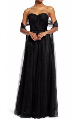 Bridesmaid Convertible Tulle Dress Gown in Black